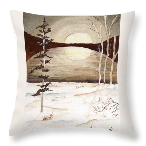 Watercolor Throw Pillow featuring the painting Winter Apex by Brenda Owen
