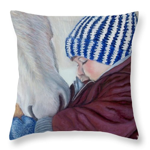 Horse Throw Pillow featuring the painting Winter Apples by Minaz Jantz