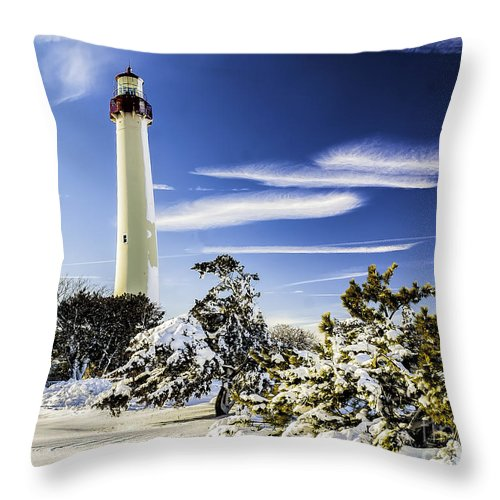 Beacon Throw Pillow featuring the photograph Winter At Cape May Light by Nick Zelinsky