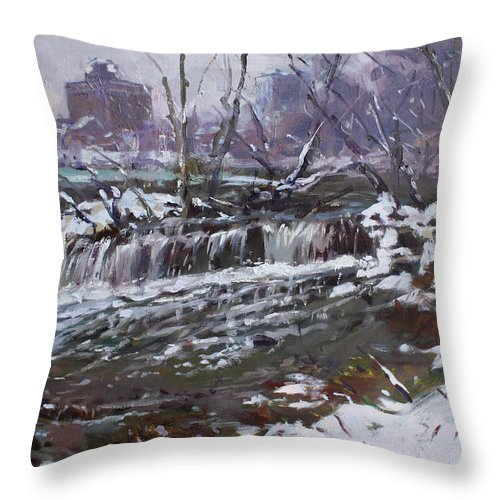 Christmas Eve Throw Pillow featuring the painting Winter At Goat Island by Ylli Haruni