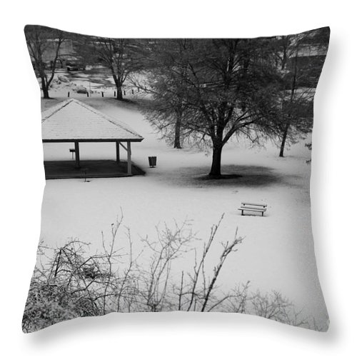 Shelter Throw Pillow featuring the photograph Winter At The Park by Idaho Scenic Images Linda Lantzy