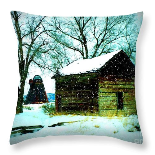 Winter Landscape Throw Pillow featuring the photograph Winter Barn And Silo by Carol Groenen