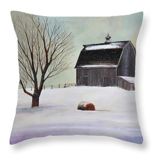 Barn Throw Pillow featuring the painting Winter Barn II by Toni Grote