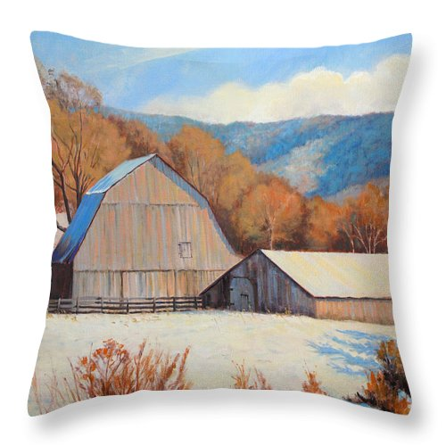 Impressionism Throw Pillow featuring the painting Winter Barns by Keith Burgess