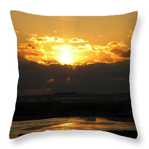 Winter Throw Pillow featuring the photograph Winter Beach Sunset by Joan Gal-Peck