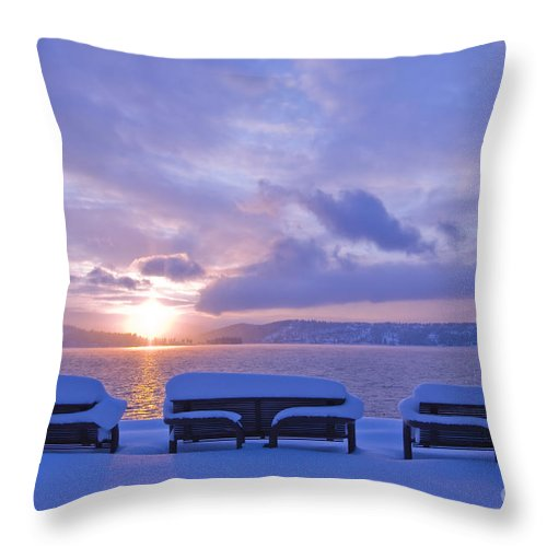 Lake Throw Pillow featuring the photograph Winter Benches by Idaho Scenic Images Linda Lantzy