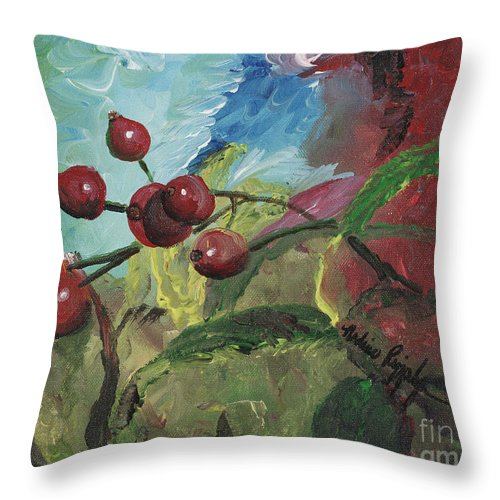 Berries Throw Pillow featuring the painting Winter Berries by Nadine Rippelmeyer