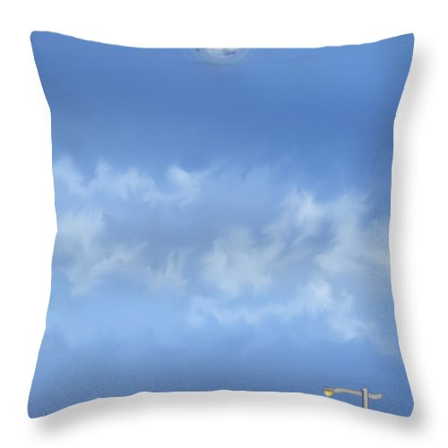 Moon Throw Pillow featuring the painting Winter Blue Moon At Three Forty Five In The Afternoon by Anne Norskog