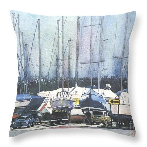 Landscape Throw Pillow featuring the painting Winter Blues, Sal Boats, Boating Paintings, Boat Paintings, Boat Prints by LeAnne Sowa