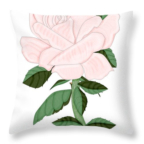 Pink Rose Throw Pillow featuring the painting Winter Blush Rose by Anne Norskog