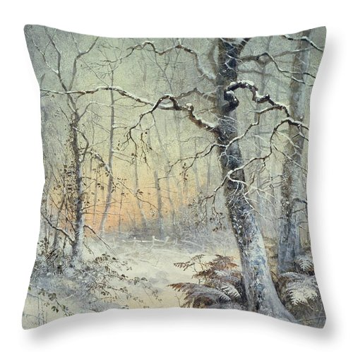 Winter Throw Pillow featuring the painting Winter Breakfast by Joseph Farquharson