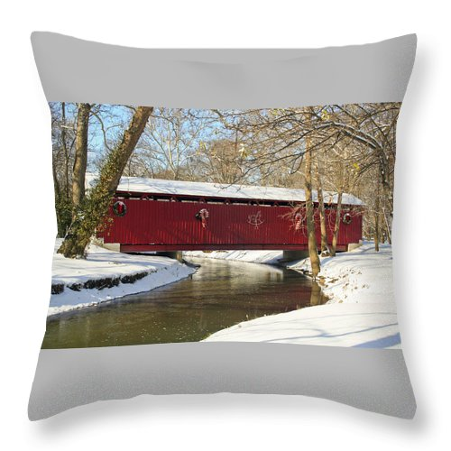 Covered Bridge Throw Pillow featuring the photograph Winter Bridge by Margie Wildblood