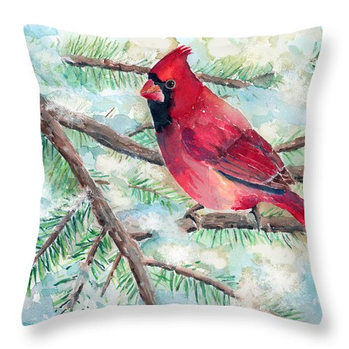 Cardinal Throw Pillow featuring the painting Winter Cardinal by Arline Wagner