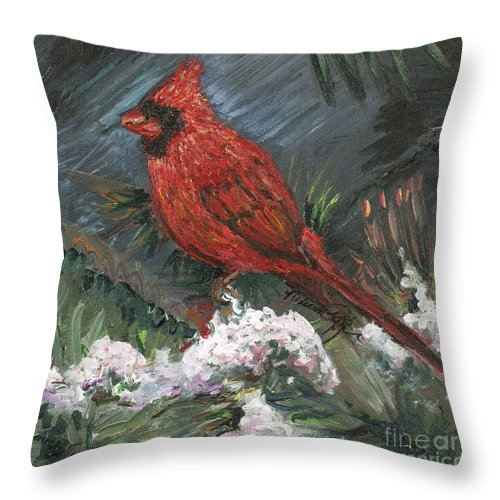 Bird Throw Pillow featuring the painting Winter Cardinal by Nadine Rippelmeyer