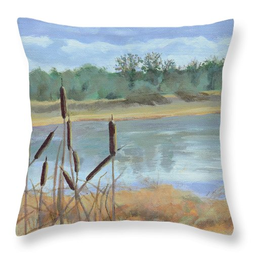 Acrylic Landscape Throw Pillow featuring the painting Winter Cattails by Mary Chant