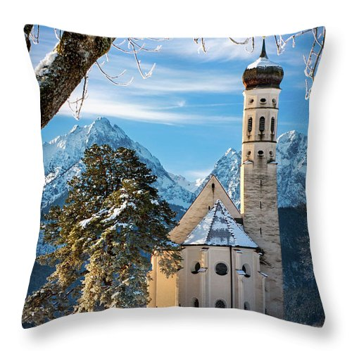 St Throw Pillow featuring the photograph Winter Church In Bavaria by Brian Jannsen