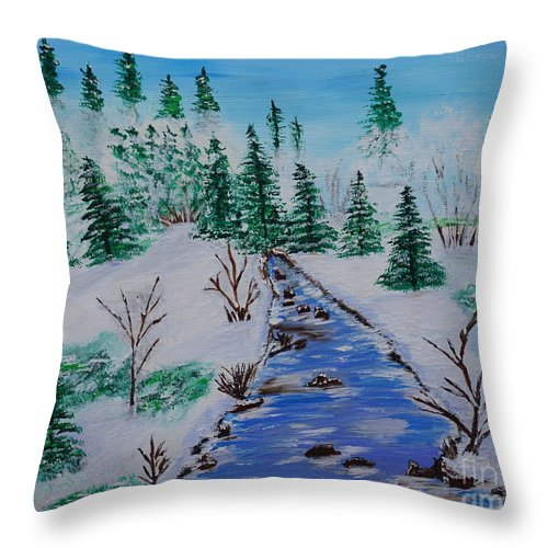 Snow Throw Pillow featuring the painting Winter Calmness by Jimmy Clark
