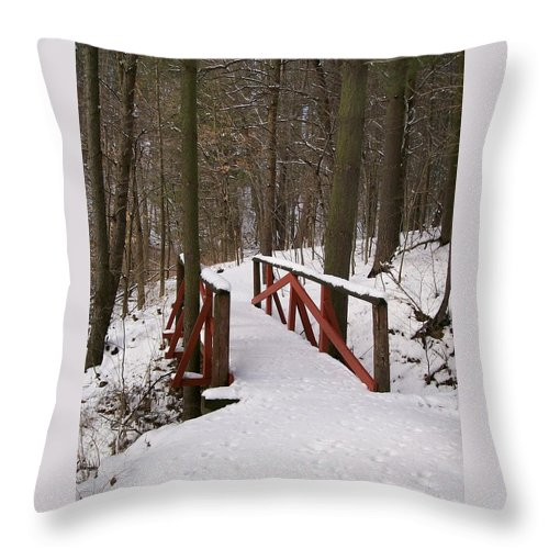 Woods Throw Pillow featuring the photograph Winter Crossing by Sara Raber
