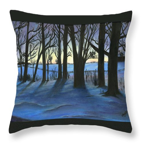 Winter Scenes Throw Pillow featuring the painting Winter Day's End by Deborah Butts
