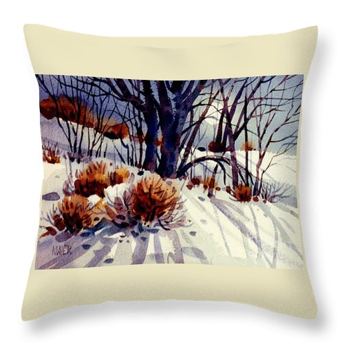 Snow Throw Pillow featuring the painting Winter Drifts by Donald Maier