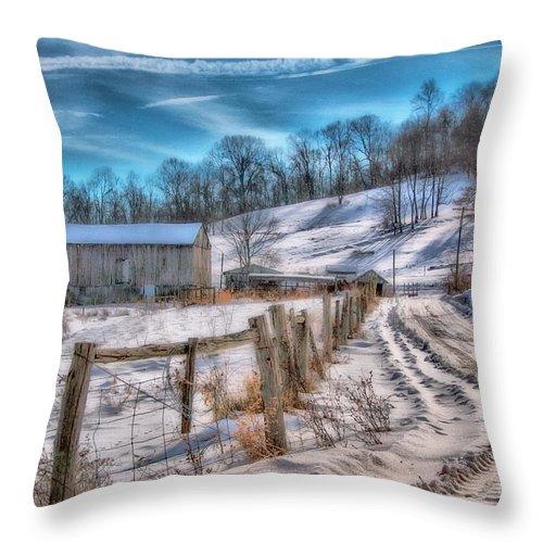 Barn Throw Pillow featuring the digital art Winter Farm Barn In Snow by Randy Steele