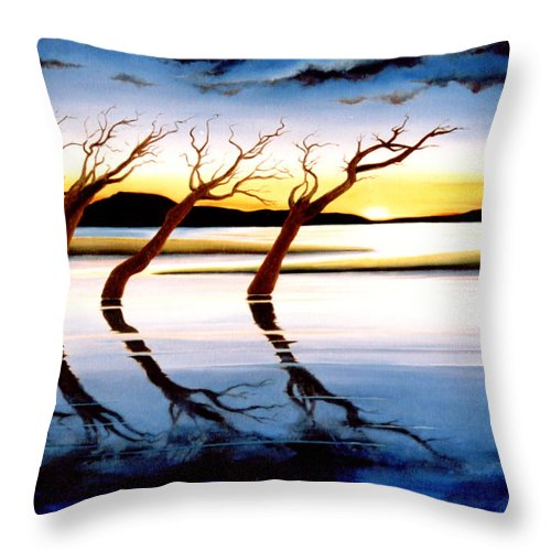 Seascape Throw Pillow featuring the painting Winter Heatwave by Mark Cawood