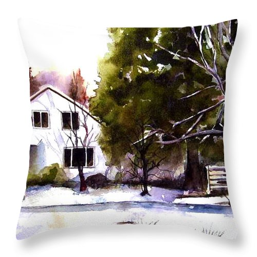 Winter Throw Pillow featuring the painting Winter Homestead by Marti Green