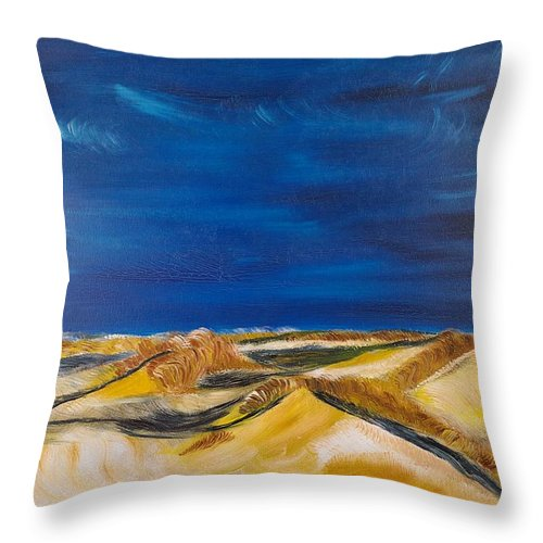 Island Throw Pillow featuring the painting Winter Impression Of Sylt by Valerie Ornstein