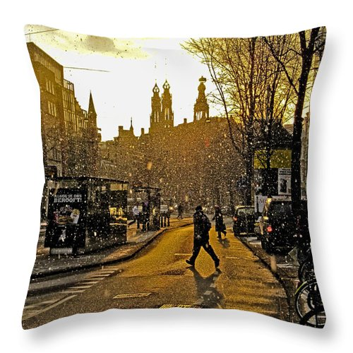 Amsterdam Throw Pillow featuring the photograph Winter In Amsterdam-1 by Casper Cammeraat