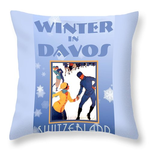 Winter In Davos Throw Pillow featuring the digital art Winter In Davos by Steven Boland