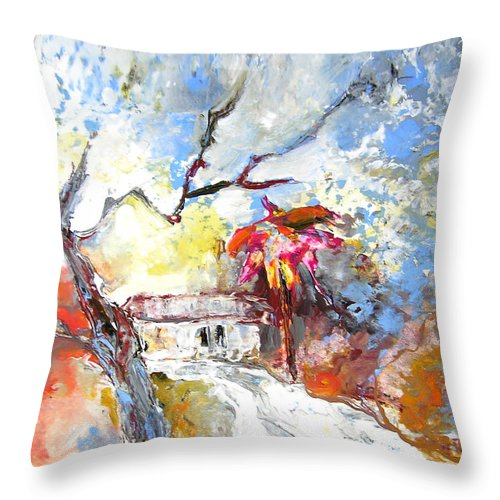 Spain Throw Pillow featuring the painting Winter In Spain by Miki De Goodaboom