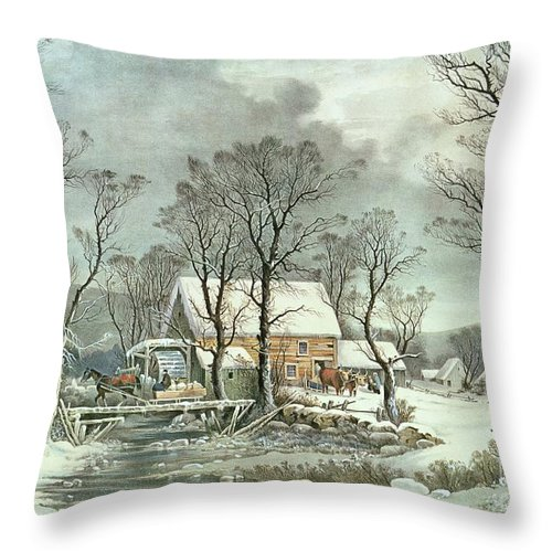 Winter In The Country - The Old Grist Mill Throw Pillow featuring the painting Winter In The Country - The Old Grist Mill by Currier and Ives