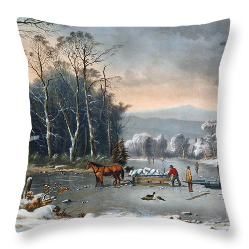 Winter In The Country Throw Pillow featuring the painting Winter In The Country by Currier and Ives