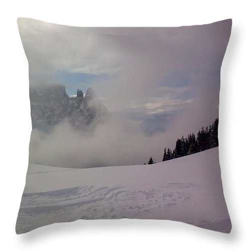 Landscape Throw Pillow featuring the photograph Winter In The Dolomite Alps by Valerie Ornstein
