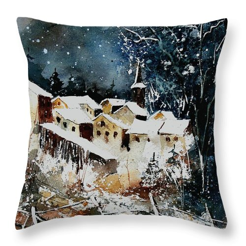 Winter Throw Pillow featuring the painting Winter In Vivy by Pol Ledent