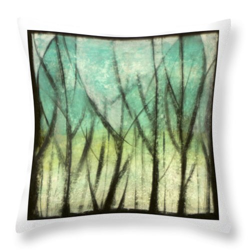 Trees Throw Pillow featuring the painting Winter Into Spring by Tim Nyberg