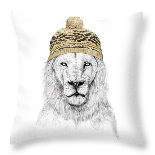 Lion Throw Pillow featuring the mixed media Winter Is Coming by Balazs Solti