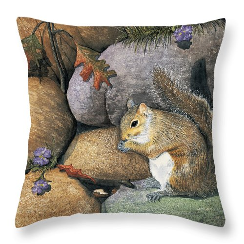 Nature Throw Pillow featuring the painting Winter Is Coming by Mary Tuomi