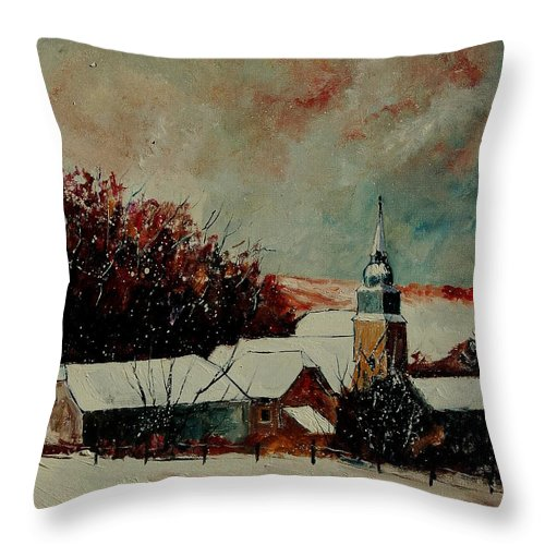 Winter Throw Pillow featuring the painting Winter Landscape by Pol Ledent