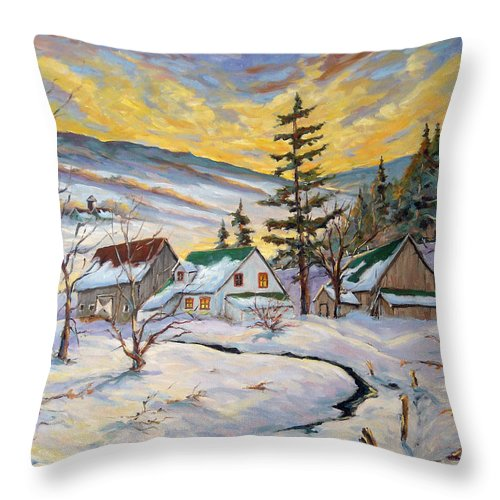 Landscape Throw Pillow featuring the painting Winter Lights by Richard T Pranke