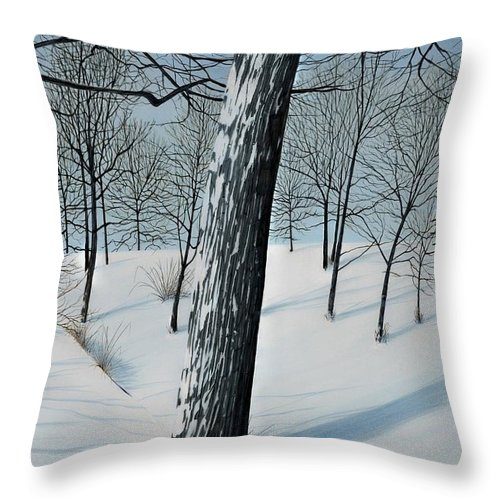 Landscape Throw Pillow featuring the painting Winter Maple by Kenneth M Kirsch