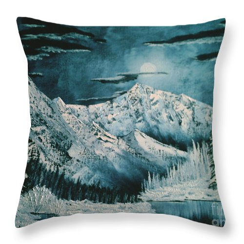 Winter Landscape Throw Pillow featuring the painting Winter Moon 2 by Jim Saltis