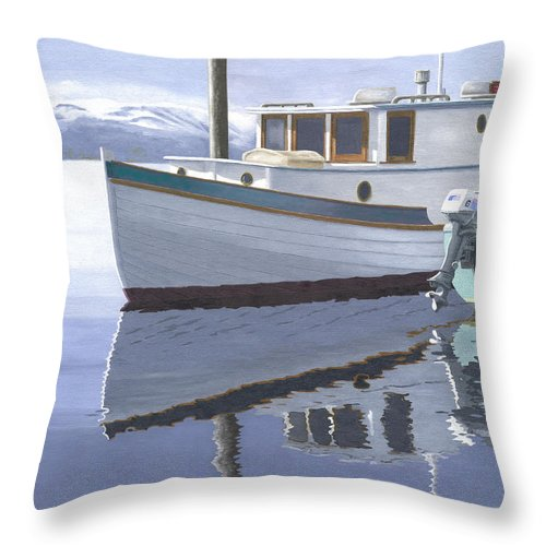 Marine Throw Pillow featuring the painting Winter Moorage by Gary Giacomelli