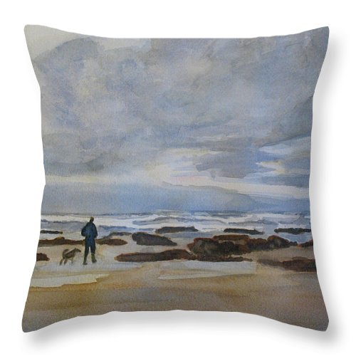 Beach Throw Pillow featuring the painting Winter Morning Solitude II by Jenny Armitage