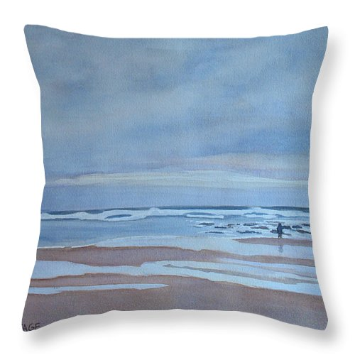 Ocean Throw Pillow featuring the painting Winter Morning Solitude by Jenny Armitage