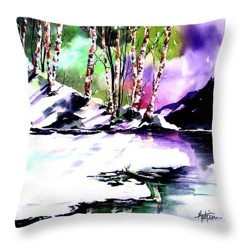 Winter Mountain Throw Pillow featuring the painting Winter Mountain by Marti Green