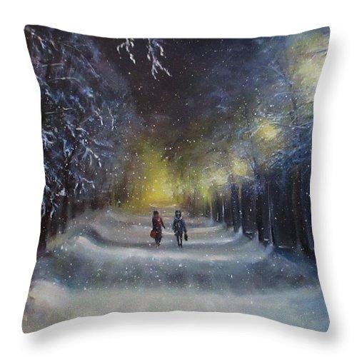 Night Lights Throw Pillow featuring the painting Winter night walk by Natalja Picugina