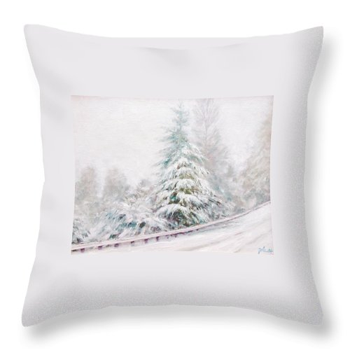 Winter Landscape Throw Pillow featuring the painting Winter Of 04 by Jim Gola