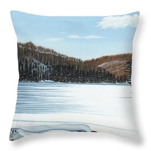 Landscapes Throw Pillow featuring the painting Winter On An Ontario Lake by Kenneth M Kirsch