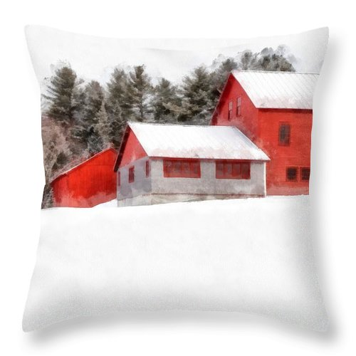 New England Throw Pillow featuring the photograph Winter On The Farm Enfield by Edward Fielding